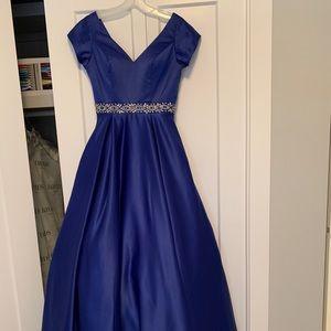 Royal blue satin gown
